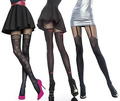 Mock Suspender Stockings Tights Fiore Collection Patterned Tights 40 Denier new
