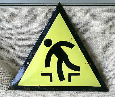 VINTAGE 1960`s ENAMEL PORCELAIN TIN SIGN PLATE - WARNING  DANGER #9-