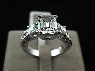 18K White Gold Plated Emerald Cut  AAA CZ Engagement Dress Ring Classic Gift
