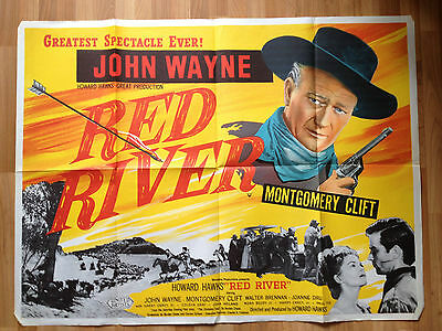 Red River original british UK Quad Film Poster John Wayne Howard Hawks