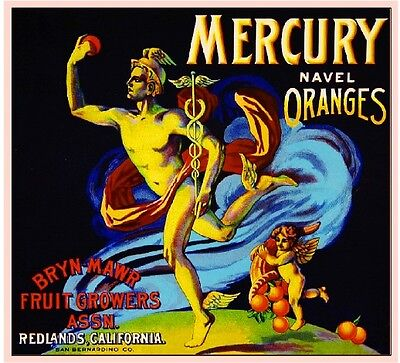 Redlands Mercury Greek God Orange Citrus Fruit Crate Label Art Print