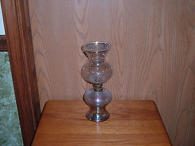 VINTAGE TWO PART CLEAR GLASS OIL LAMP
