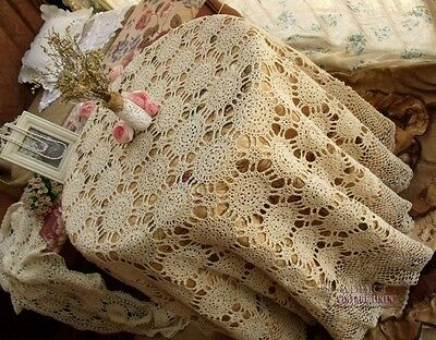 Vtg LARGE HAND Crochet Lace Tablecloth Snowflake Scallop Ecru GORGEOUS-ROUND 72""