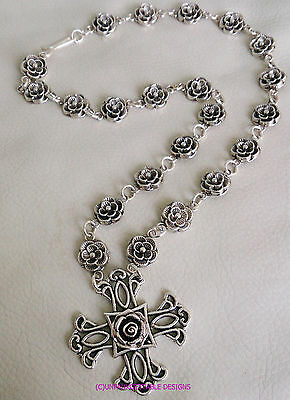 Elaborate Silver Gothic Tudor  Rose Chain Cross Necklace  Larp Sca Rennaissance