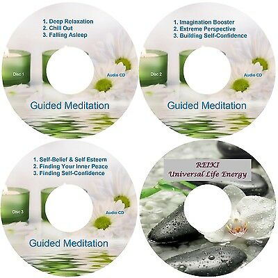 Guided Meditation 9 Sessions & Reiki 4 CDs Relaxation Stress Relief Sleep Aid