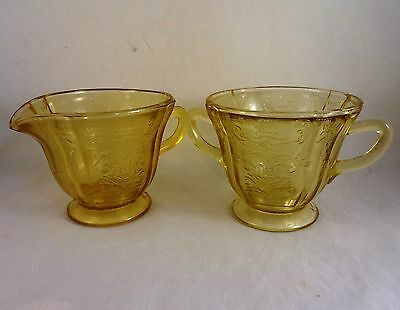 AMBER DEPRESSION MADRID Footed CREAM & SUGAR BOWL