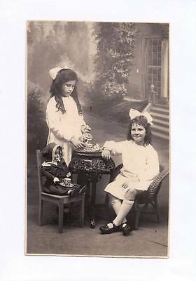 C1910 Rp Postcard Children Staffordshire Tea Set Porcelain Doll Marchant Pho J68