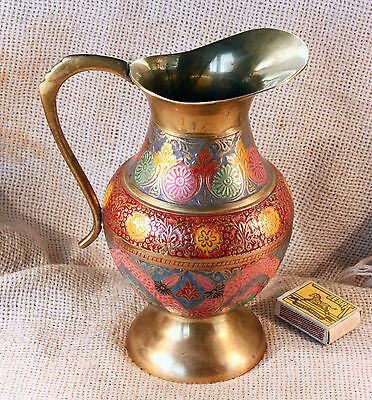 Vintage Beautiful Solid Brass Floral Engraved Pitcher Jug +