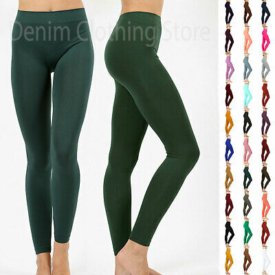 Basic Seamless Soft Yarn Yoga Skinny Fit Full Length Leggings Any Color One Size
