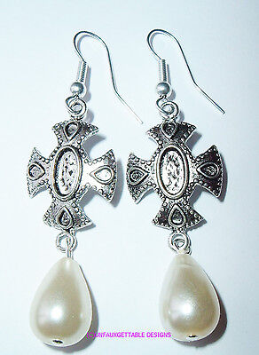 Medieval Silver Maltese Cross Pearl  Drop Earrings  Larp Ren Re-Enactor Costume