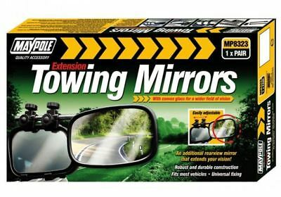 UNIVERSAL PAIR of EXTENSION CONVEX TOWING MIRRORS - CARAVAN TRAILER