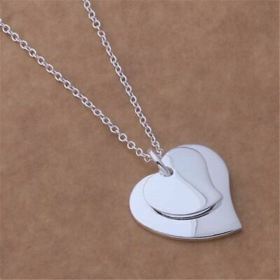 *Uk* 925 Silver Plt Double Love Heart Pendant Necklace Two 18'' Ladies Joined