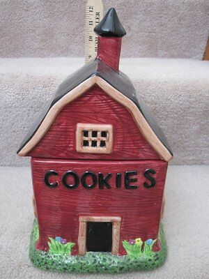 Large Warren Kimble Barns Barn School House Figural Cookie Jar Canister w Tag