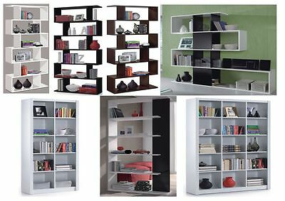 Gloss Black, White, Brown Room Divider Bookcase Lounge Shelving Display 234578