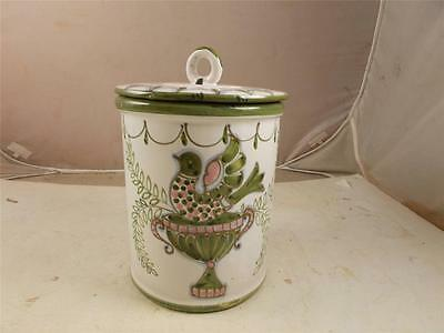 """Ceramic Cannister Made In Italy Green White 9.5"""" Height X 6.5"""" Diameter"""