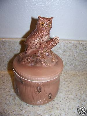 Owl on Branch Canister  Brown Tan Sugar Bowl W Spoon