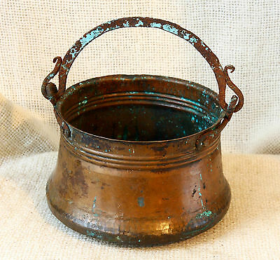 ANTIQUE 19`c ISLAMIC Ottoman Empire HAND FORGED COPPER Pot Kettle for Water