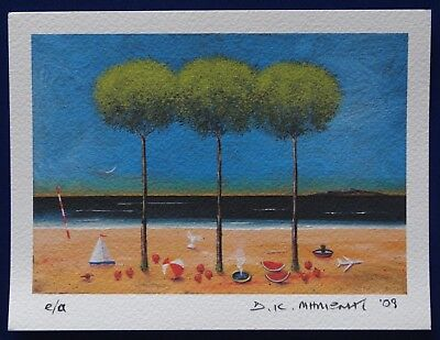 """THREE TREES BY THE SEA"" e/a Signed Limited Edition Giclee Ink Print Greek 2009"