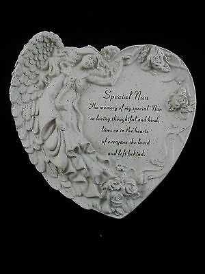 Grave ornament memorial SPECIAL NAN Large heart with angel Grey New