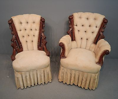 Antique Victorian Carved Walnut & Upholstered Parlor Armchair and Side Chair Set