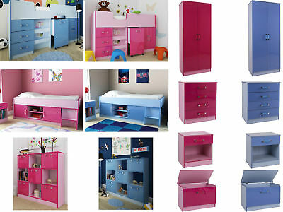 Childrens High Gloss Bedroom Furniture Sets - Boys Blue or Girls Pink