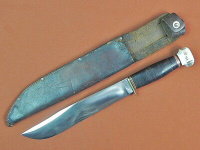 Vintage US MARBLES Trailmaker Large Bowie Hunting Fighting Knife w/ Sheath