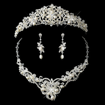 Silver Freshwater Pearl, Austrian Crystal Bridal Tiara Necklace Jewelry Set