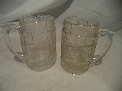 Vintage Dad's Root Beer Barrel Mug Set of 2 Heavy Glass 5 Inches Tall Excellent