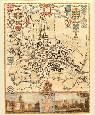 Map of Oxford University, Reproduction Antique Map of Oxford University and City