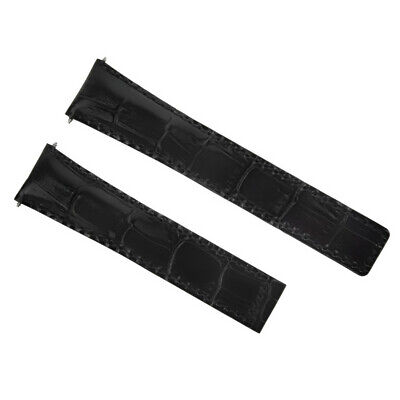 19Mm Genuine Alligator Leather Band Strap Clasp For 19/18Mm Tag Heuer Black 3T