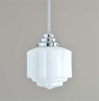 "St Kilda-Art Deco Light-Chrome Pendant Rod-White ""st Kilda"" Glass Shade-New"