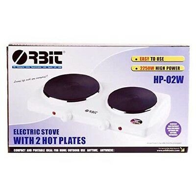 portable electric cooker Hot Plate 2 Burners camping caravan stainless ste white