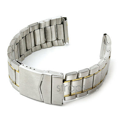 StrapsCo Two Tone Stainless Steel Men's Watch Band Silver Yellow Gold Tone Strap
