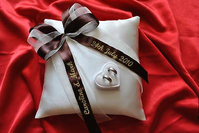 Personalised wedding ring cushion pillow with rings holder box