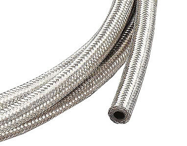 "1m of 10mm (3/8"") Fuel Hose Stainless Steel Braided 10 mm Length SAE30R6/R7"