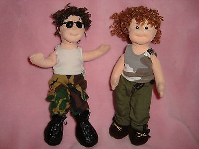 Teenie Beanie Boppers Ty 2002 Chillin Charlie & Snappy Cindy Lot 2 dolls in camo