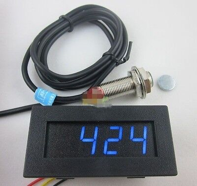 Blue Tachometer Drehzahlmesser RPM Speed Meter Digital LED Hall Proximity Switch