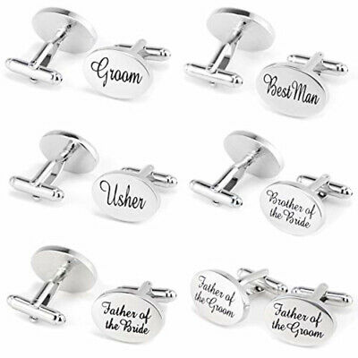 Wedding Cufflinks Groom Best man SILVER OVAL mens cuff link usher pageboy Grooms