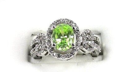 Green Amethyst simulated gemstone Solitaire ladies silver ring size 8 R*1639