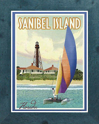 Sanibel Island, FL (Framed) Vintage Art Deco Travel Poster -by Aurelio Grisanty