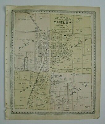 1895 Outline Map of Village of SHELBY plat map Oceana County, Michigan, original