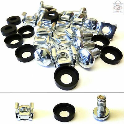 """30 Pack of M6 Cage Nuts Screws Washers 19"""" Data Network Rack Cabinet Mount PDU"""