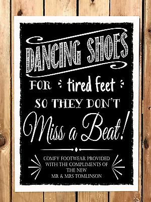 d3ab74a01c226c PERSONALISED dancing shoes WEDDING SIGN flip-flop tired feet chalkboard  VINTAGE