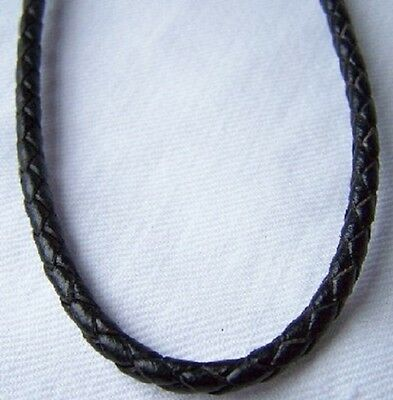 4mm x 40cm Genuine Black Plait Leather Necklace with Sterling Silver Clasp