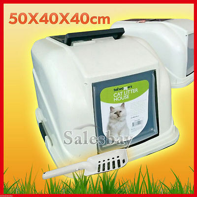 Portable Hooded Cat Toilet Litter Box Tray House With Handle and Scoop Pet