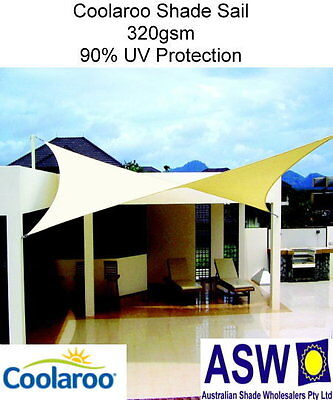 5.4m x 5.4m Square SHADE SAIL Coolaroo Extreme DESERT SAND Shadecloth SSC54SDS