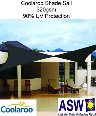 5.4m x 5.4m Square SHADE SAIL Coolaroo Extreme CHARCOAL Shadecloth Commercial