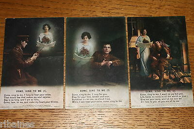 Vintage Postcard: 3 Bamforth Song Cards No.4881, Come Sing To Me, WW1, Soilder
