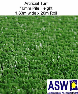1.83m x 20m ARTIFICIAL SYNTHETIC TURF 10mm High 1340gsm Fake Green Grass Golf