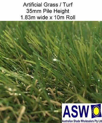 1.83m x 10m ARTIFICIAL SYNTHETIC TURF 35mm High 3010gsm Fake Green Grass Golf